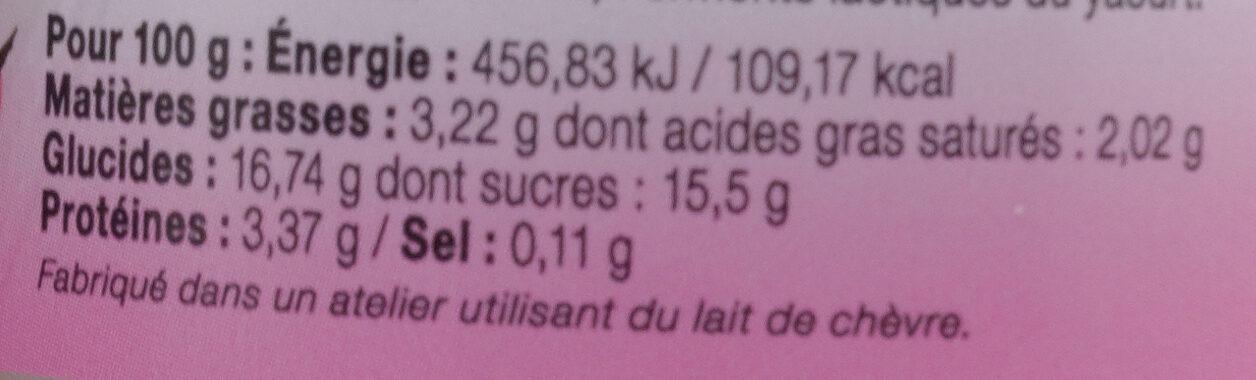 Yaourt entier framboise LE PETIT VERSAILLAIS - Informations nutritionnelles - fr