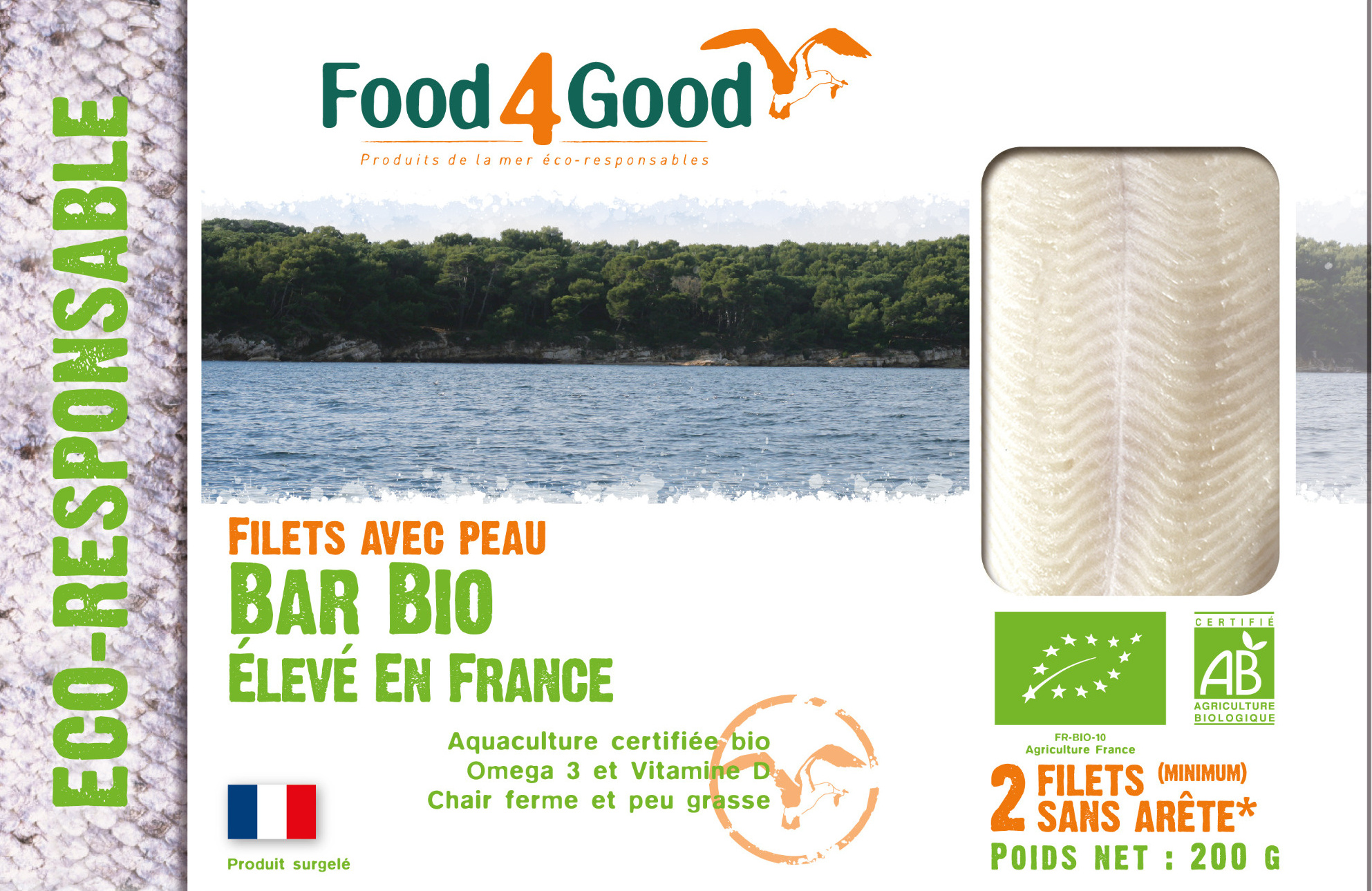Filets sans peau de Bar BIO élevé en France - Product