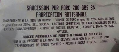 Saucisson Pur Porc - Ingrédients