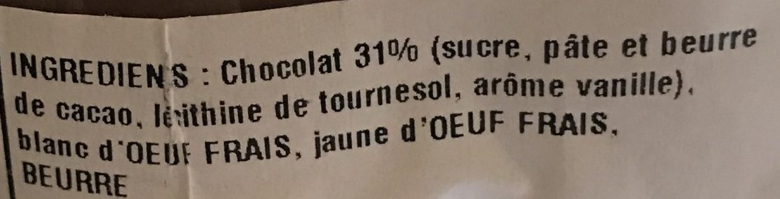 La Mousse au Chocolat Artisanale - Ingredients