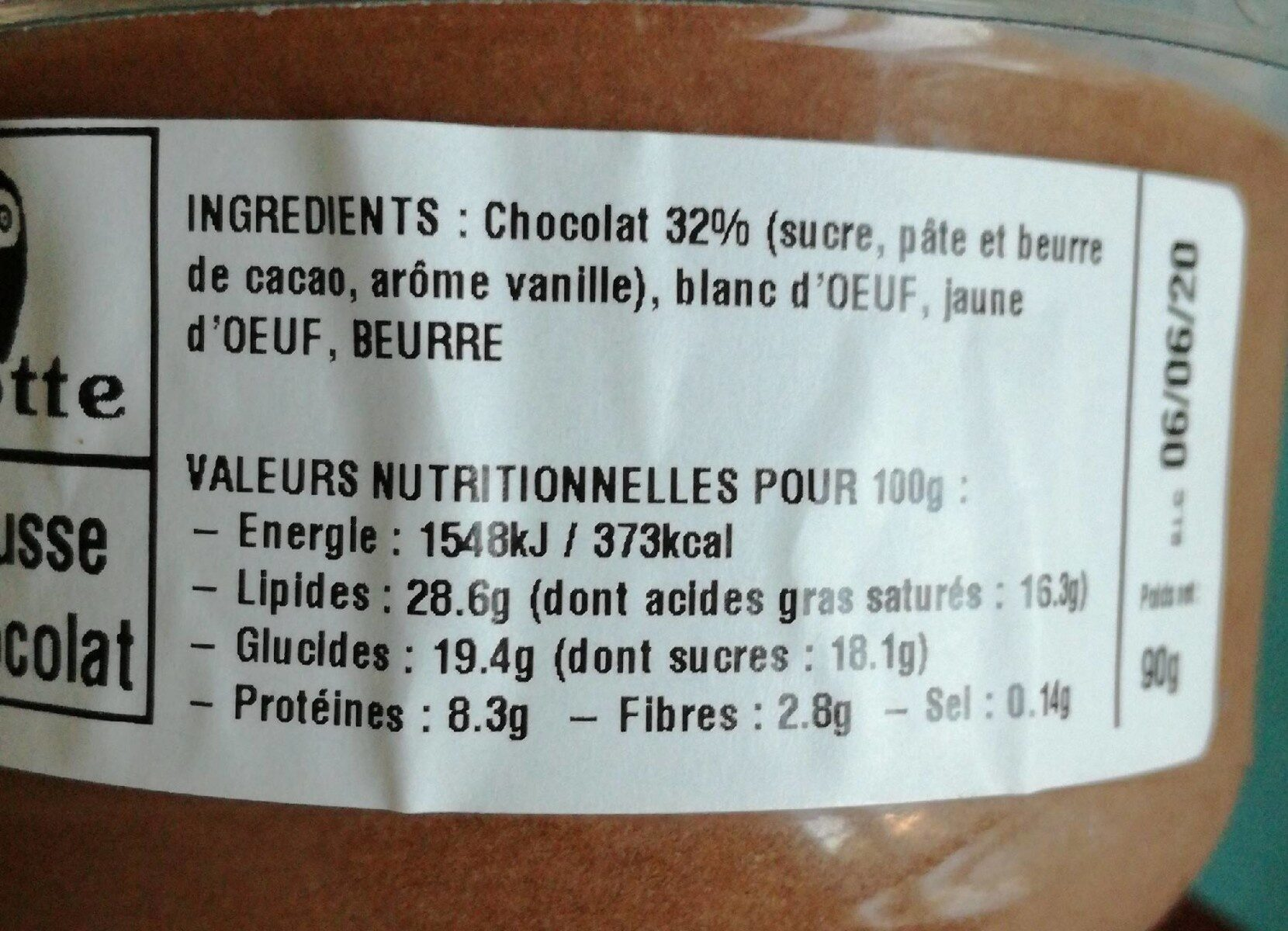 Mousse au chocolat artisanale - Voedingswaarden - fr