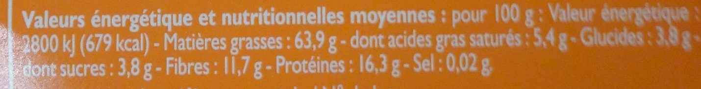 Noisettes décortiquées - Informations nutritionnelles