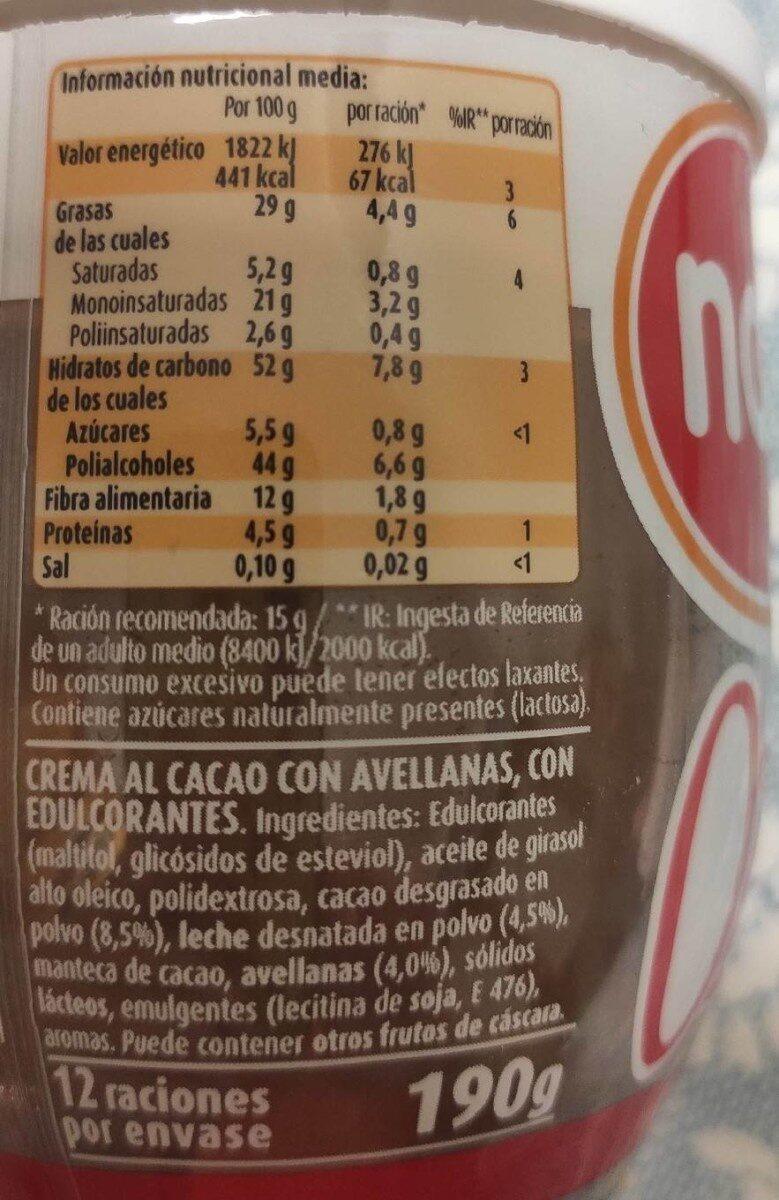 Nocilla 0% azúcar - Valori nutrizionali - es