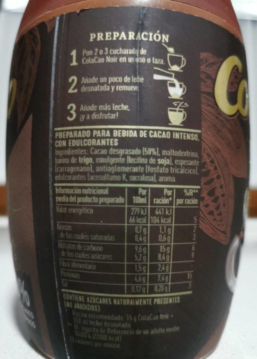 Cola cao noir - Informació nutricional - es