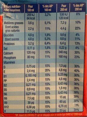 Lactel max Lait Entier Uht - Nutrition facts - fr