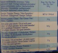 Préparation Pour Panna Cotta - Voedingswaarden - fr