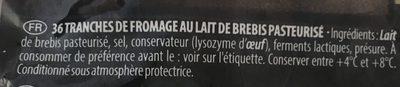 Tomme De Brebis En Tranches - Ingredients