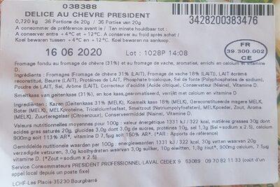 Delice au chevre président - Voedingswaarden - fr