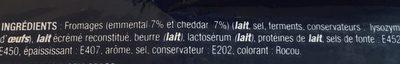 Tranches de Fromage Fondu au Cheddar et à l'Emmental - Ingredients