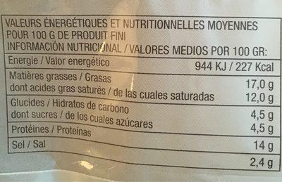 Tranches de Fromage Fondu au Cheddar et à l'Emmental - Nutrition facts