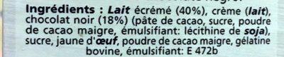 Appareil à Mousse au Chocolat Noir - Ingrediënten - fr