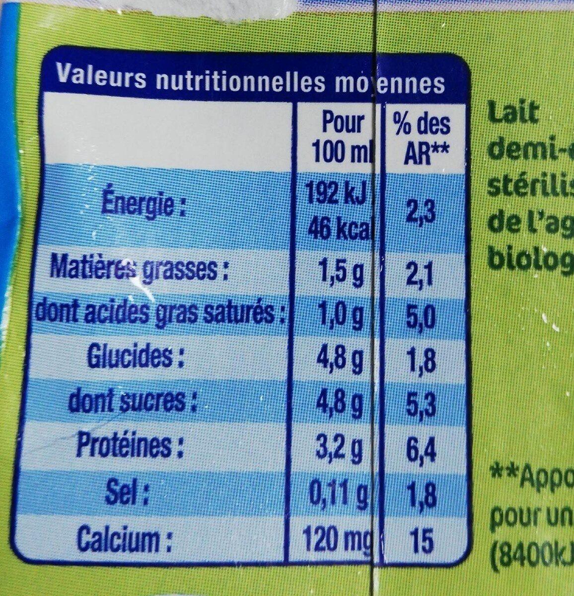 Lactel max bio - Informations nutritionnelles - fr