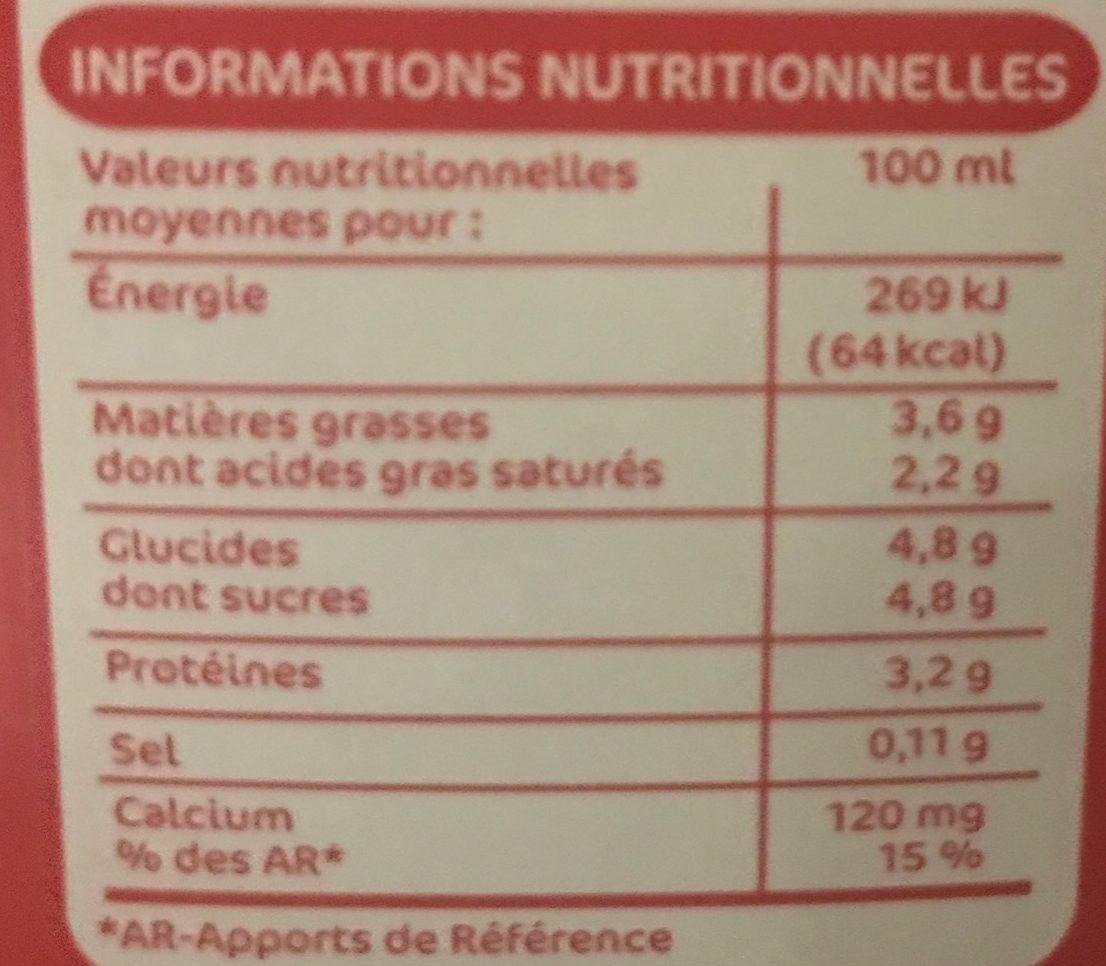 Lait De France Whole Milk 3.5% Fat - Informations nutritionnelles - fr