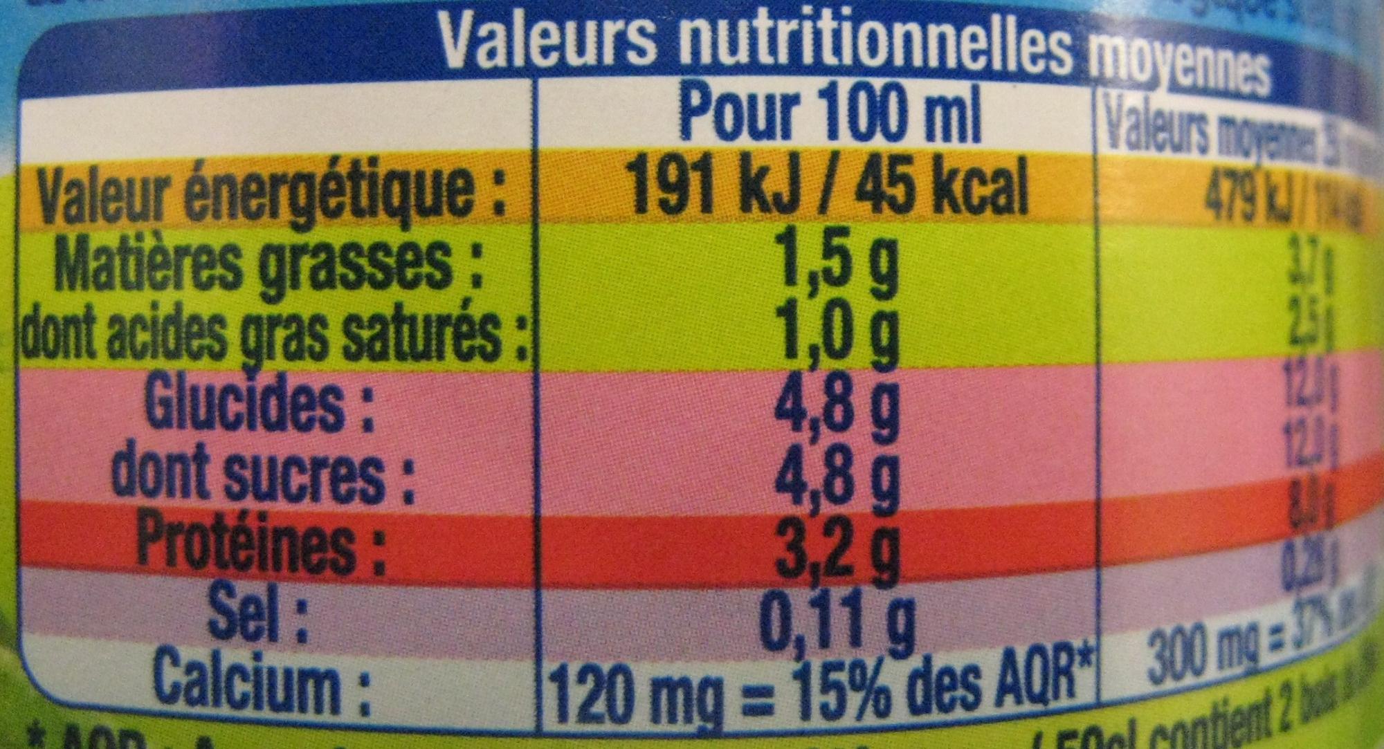 lait bio - Valori nutrizionali - fr