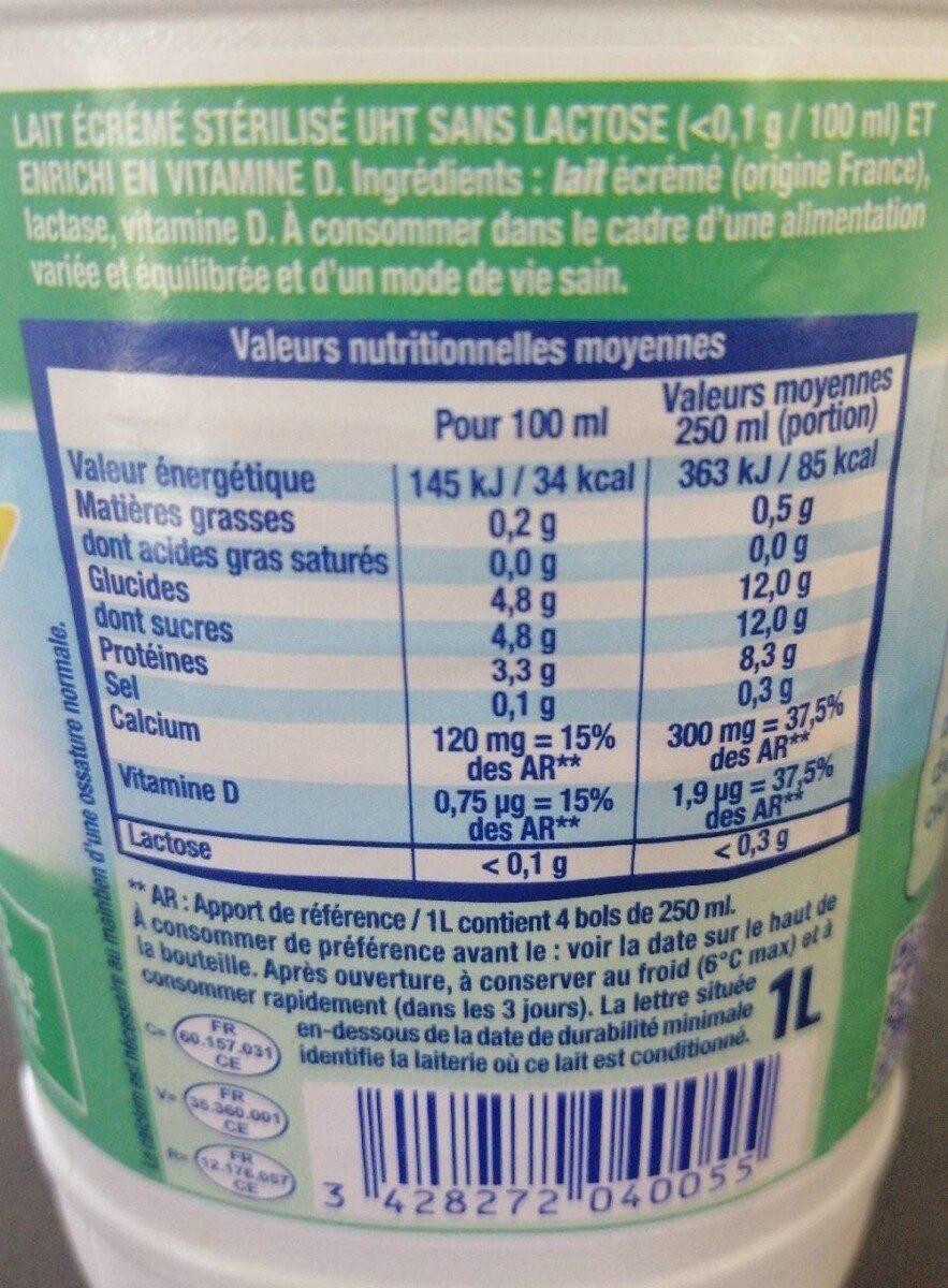 Matin léger sans lactose - Informations nutritionnelles - fr