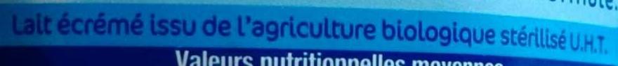 Lait Bio origine france - Format familial - Ingredients - fr