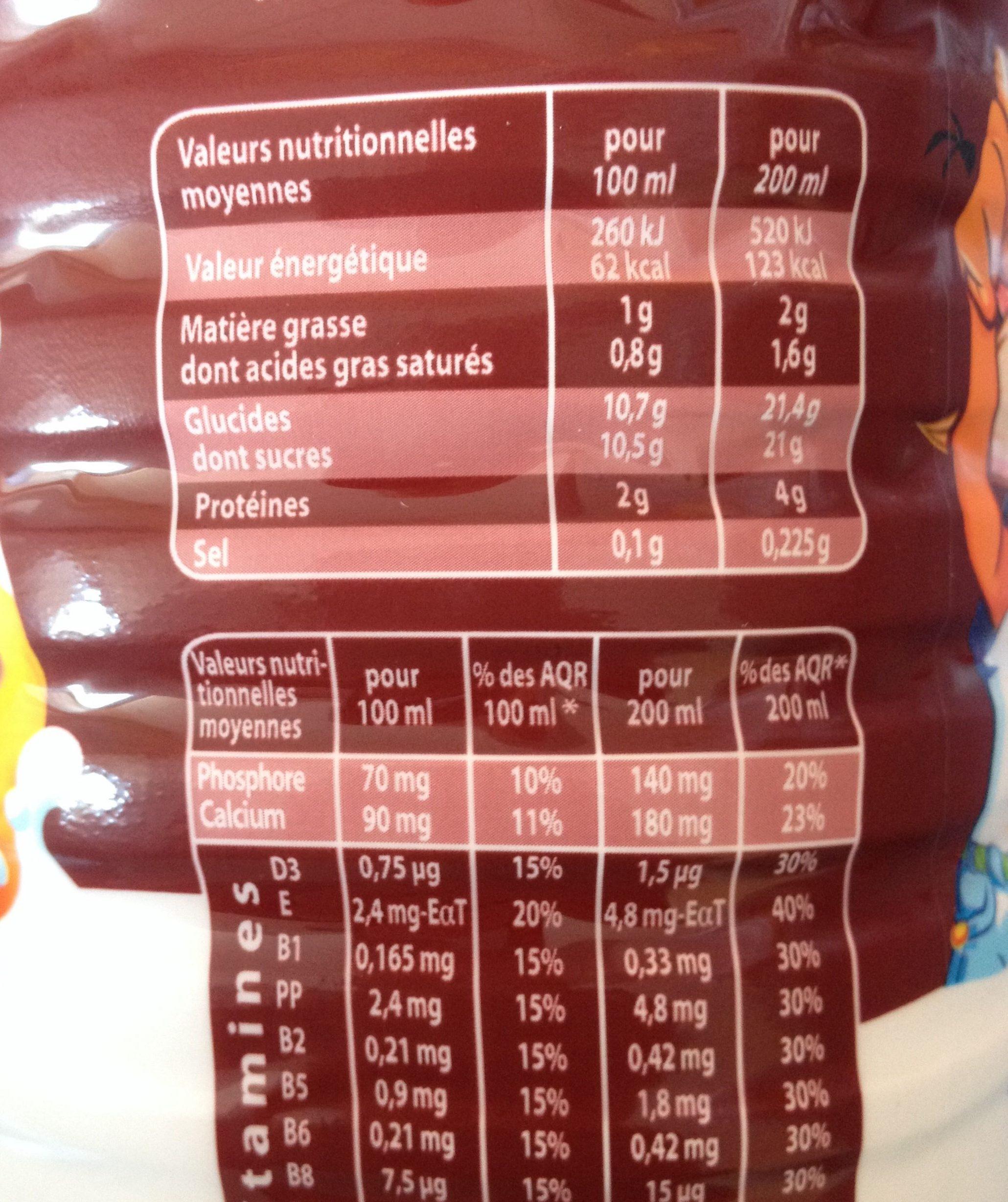 Lactel Max Chocolat - Voedigswaarden