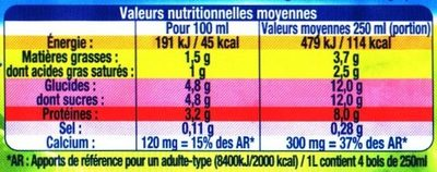 Lait Bio Demi-Écrémé - Nutrition facts - fr