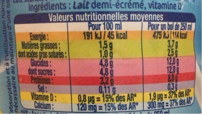 Lait Demi-écrémé Uht Lactel - Informations nutritionnelles - fr