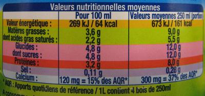 Lait Bio  Engagé Entier - Informations nutritionnelles