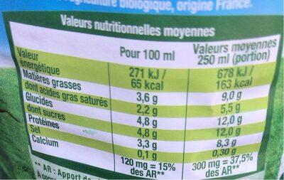 Lait Bio  Engagé Entier - Informations nutritionnelles - fr