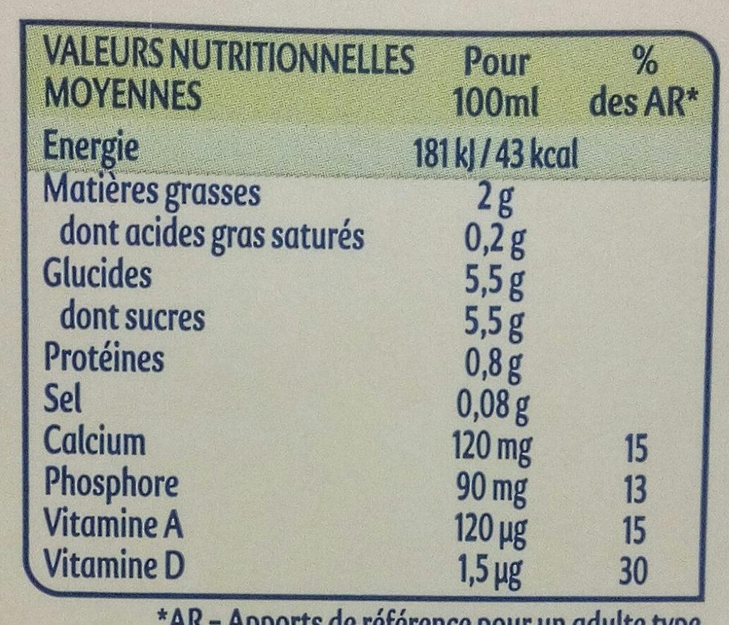 Santal amande saveur cannelle - Informations nutritionnelles