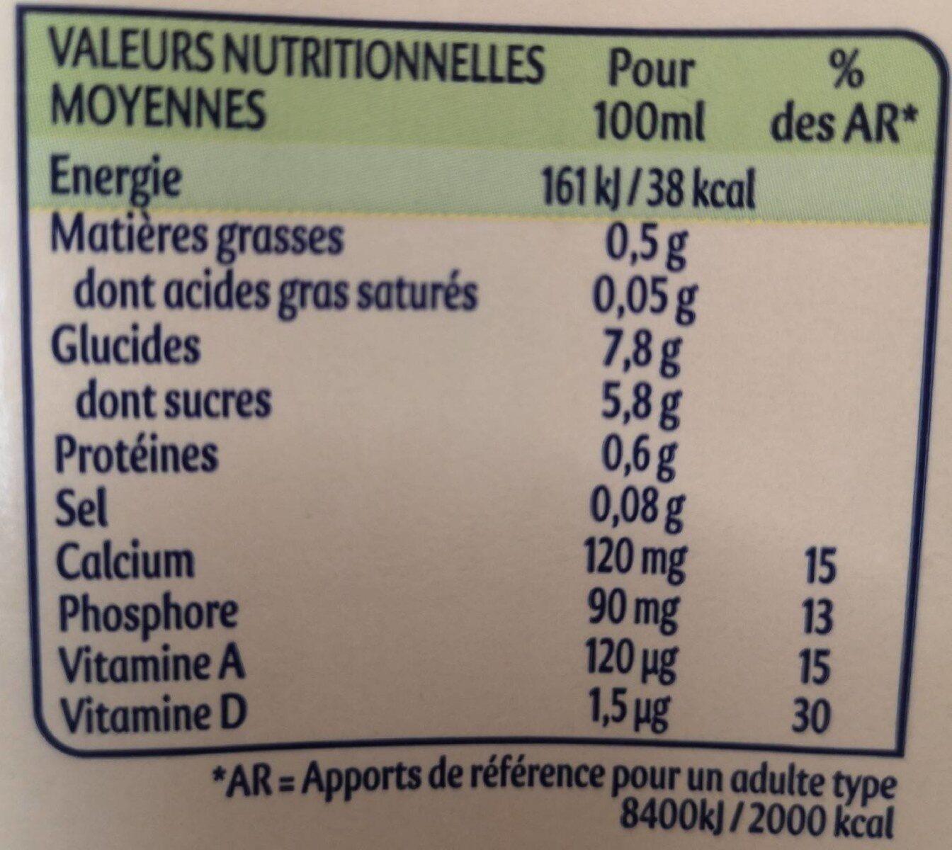 Boisson végétale Avoine & Miel - Informations nutritionnelles - fr