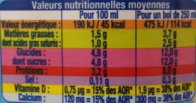 Demi-Écrémé avec Vitamine D - Nutrition facts - fr