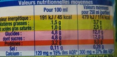 Lait Bio Demi-Écrémé - Voedingswaarden