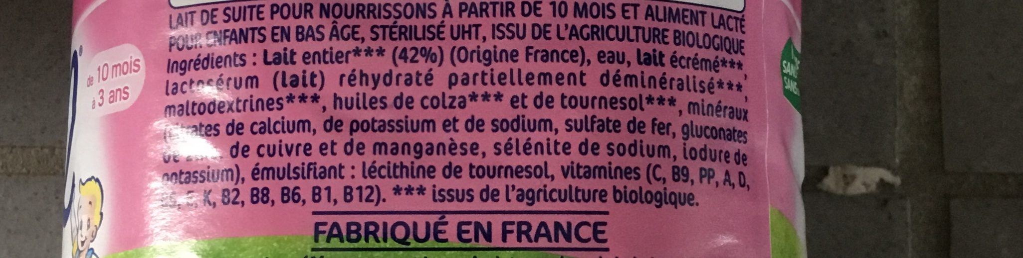 Eveil croissance bio au lait entier - Ingredients - fr