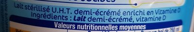 Lactel lait demi écrémé - Ingrédients - fr