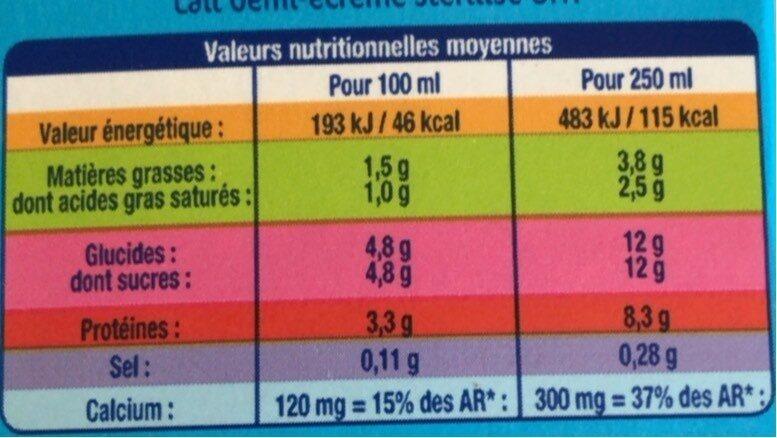 lait 1/2 écrémé - Informations nutritionnelles - fr