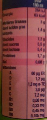 Lait de croissance au lait entier - Informations nutritionnelles