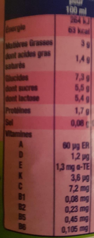 Lait de croissance au lait entier - Informations nutritionnelles - fr