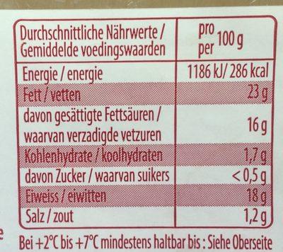 Pavé du Lot - Informations nutritionnelles - fr