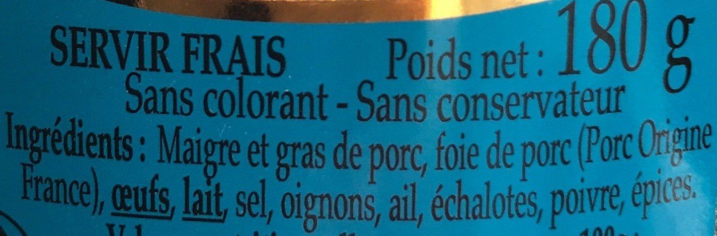 Terrine de campagne - Ingrediënten - fr