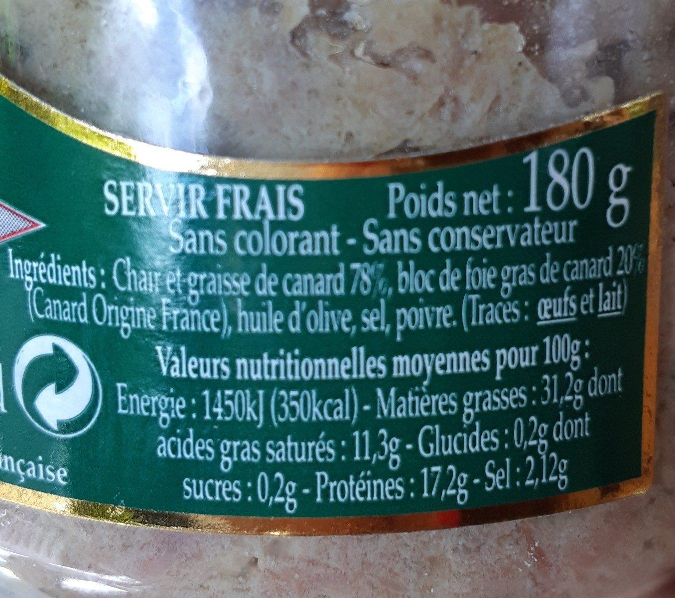 Rillettes de canard au bloc de foie gras - Ingrediënten - fr