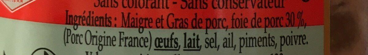 Terrine recette basque - Ingrediënten - fr