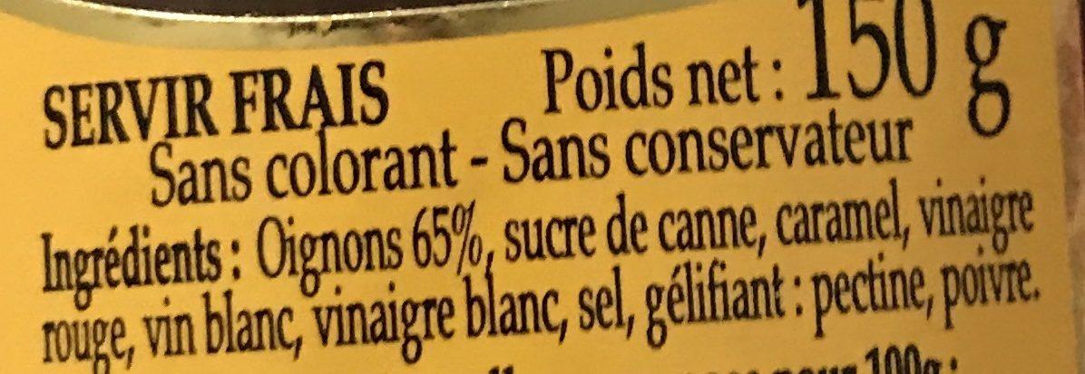 Confit d'Oignons - Ingrediënten - fr