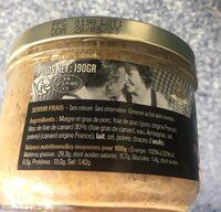 Paté au foie gras de canard - Voedingswaarden - fr