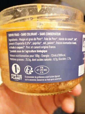 Pâté au piment d'espelette - Voedingswaarden - fr