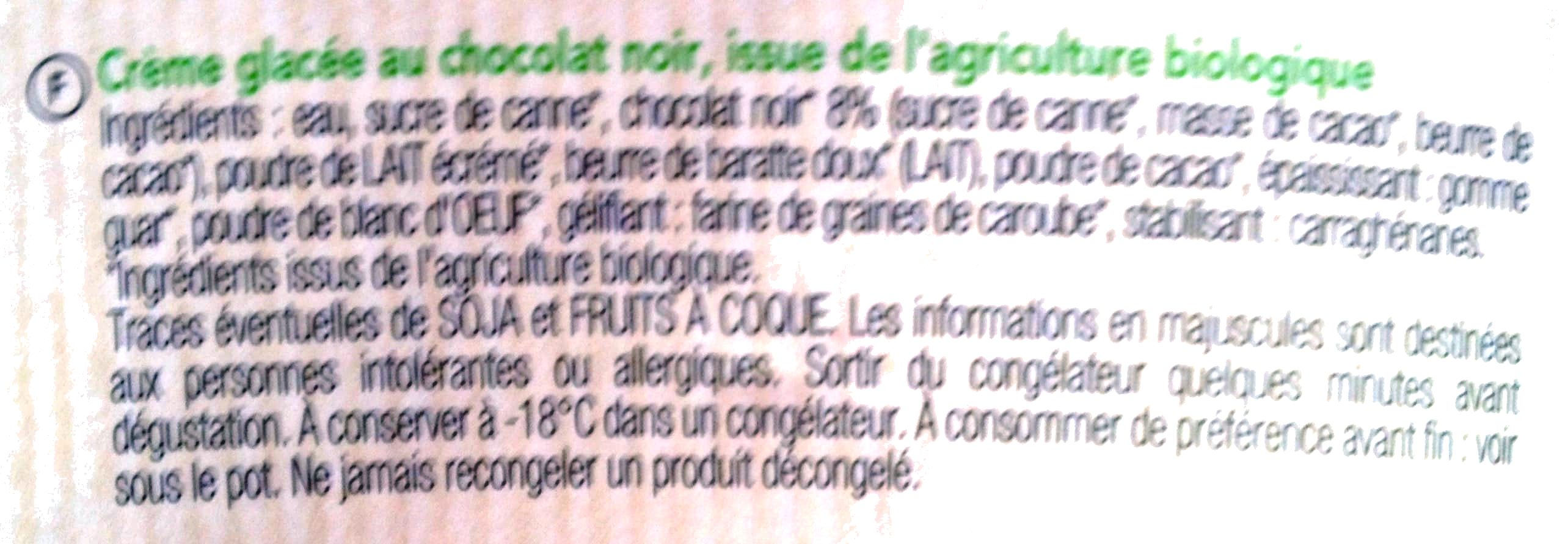 Crême glacée Bio Chocolat - Ingrédients