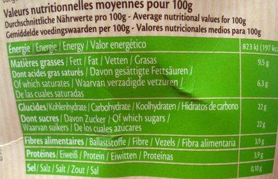 Crême glacée Bio Chocolat - Informations nutritionnelles