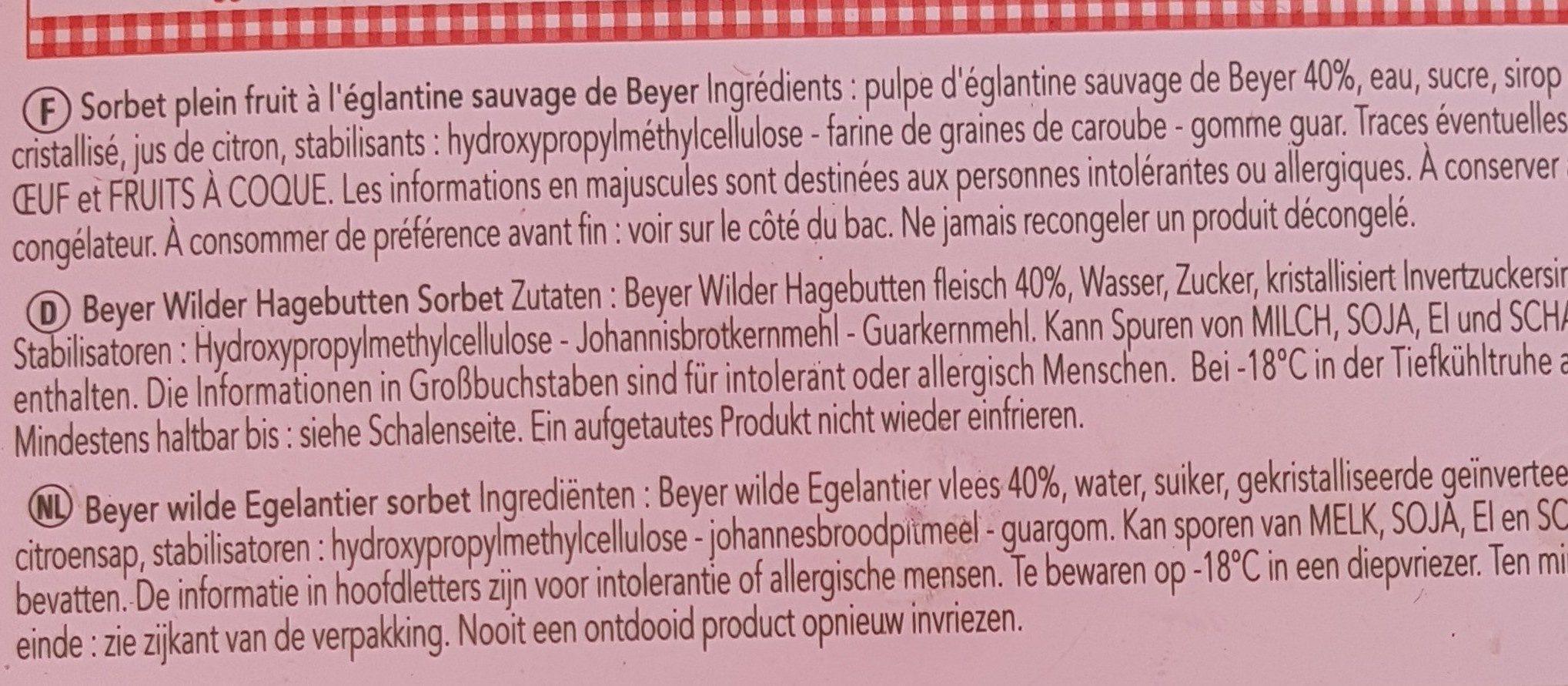 Sorbet eglantine - Ingrediënten