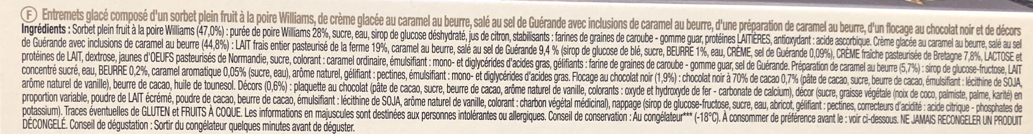 Bûche Glacée Artisanale Poire, Caramel au Beurre Salé - Ingrediënten - fr