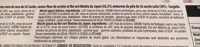 Mochis Glacés Les Exotiques : Mangue, Noix de Coco, Sakura, Thé Vert Matcha - Ingrediënten