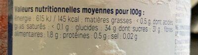 Sorbet mangue passion fr - Informations nutritionnelles - en