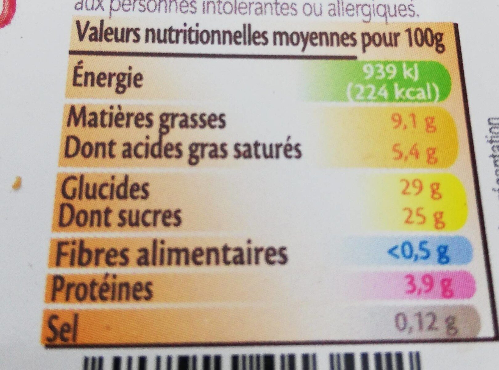 Plombieres - Informations nutritionnelles - fr
