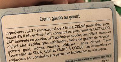 Glace au yaourt - Ingredients - fr