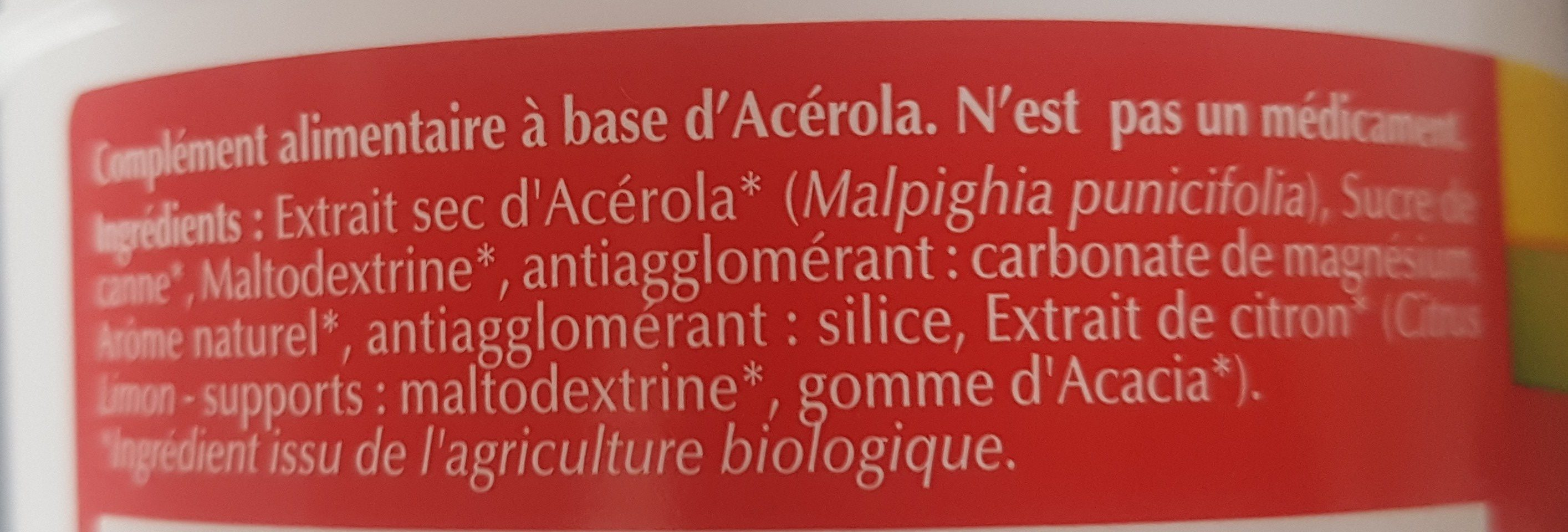 Acérola 1000 Bio Goût Fruits Rouges - Ingredients